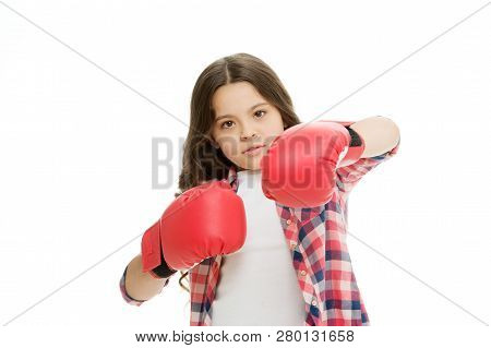 Girl power concept. Kid boxing gloves isolated white. Child boxer defend herself. Sport activity. Boxing practice. Feminist movement. Self defend strategy. Attack and defend skills. Defend yourself. poster