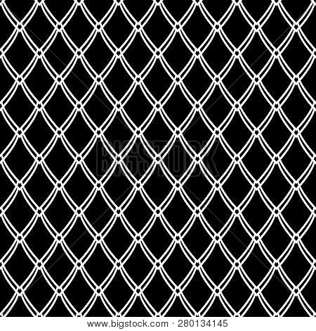 Seamless Black And White Pattern. Net Texture. Abstract Knitted Mesh. Vector Art.