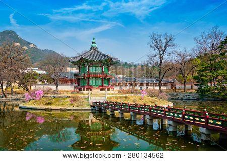 Hyangwonjeong Pavilion in Gyeongbokgung Palace, Seoul, South Korea