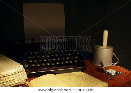 old book and typewriter