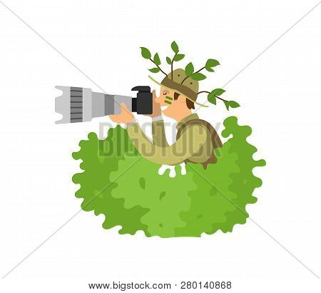 Paparazzi Photographer Spy In Bushes, Freelancer On Job Vector Isolated. Photojournalist With Camera