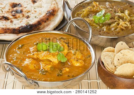 Butter Chicken Indian Curry - Methi Chicken, Or Butter Chicken, With Lamb Dhansak, Naan Bread And Po
