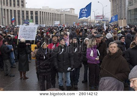 Russia, Moscow - December 24: 120 Thousands Of Protesters Take To In Academician Sakharov Prospect