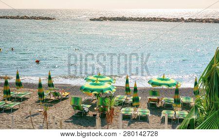 San Remo, Italy, September 18, 2018: The Beach Terrace Of The Beachclub Baya  Greca In The Italian C