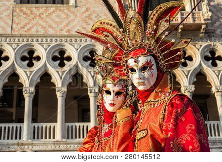 Venice, Italy - February 10: Carnival In Venice. Two Beautiful Venetian Carnival Masks With The Famo