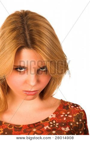 young obstinate woman isolated on white background