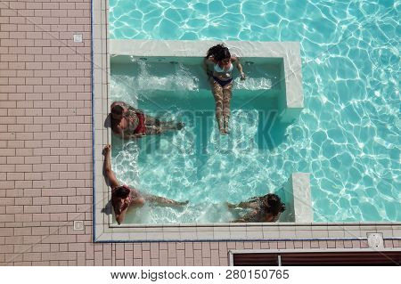Rome , Italy 17 July 2018 : Spa In Jacuzzi. People Are Relaxing At The Poolside. Relaxing In Swimmin