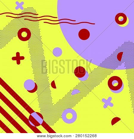 Abstract Geometric Pattern. Memphis Style. Retro, Bright Colorful. Trendy Colors. Circles And Lines.