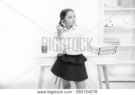 Problem Concept. Problem Solving. Little Girl Solve Problem. Child Do Problem With Thinking Look. To