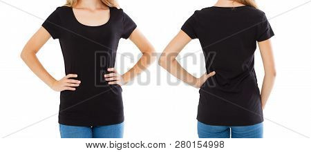 Front Back Views Woman In Stylish Blank T-shirt Isolated