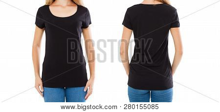 Girl In Black T-shirt Set - Front And Back Views Isolated On White
