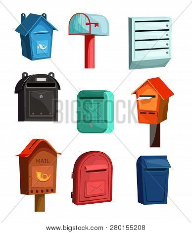 Mail Boxes Icons Set. Flat Icons On White Background. Wood, Red, Blue And Green Mail Boxes. Post Ser