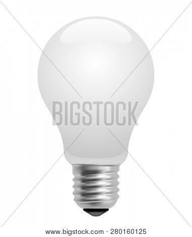 Energy saving matt glass light bulb isolated on white