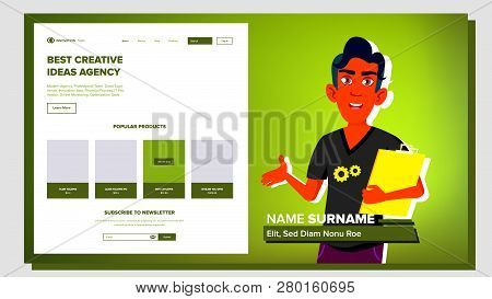 Self Presentation Vector. Indian Male. Introduce Yourself Or Your Project, Business. Illustration