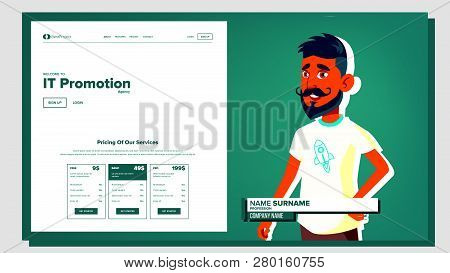 Self Presentation Vector. Arab Male. Introduce Yourself Or Your Project, Business. Illustration