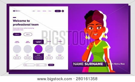Self Presentation Vector. Indian Female. Introduce Yourself Or Your Project, Business. Illustration