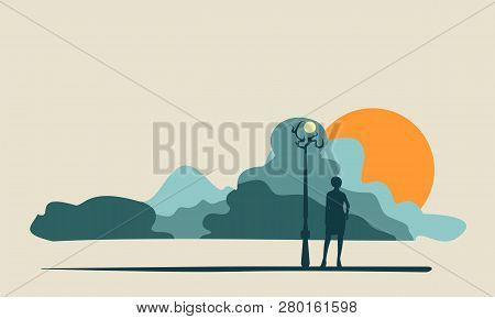 Attractive Fashionable Woman Standing At Streetlight. Abstract Cloudscape