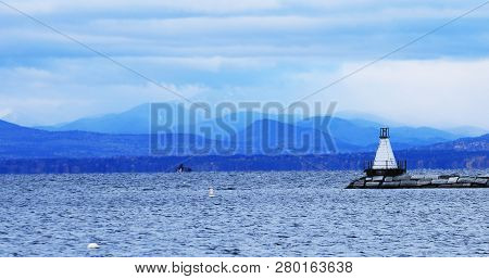 View Of The Burlington, Vermont Harbor With Lighthouse