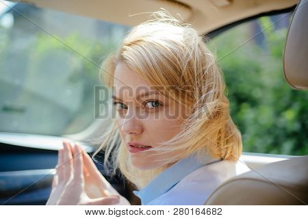 I Like Traveling. Pretty Woman Travel By Automobile Transport. Eco Driving Is An Ecologic Driving St