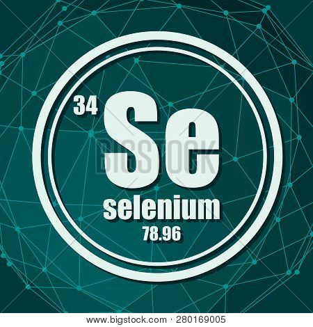 Selenium Chemical Element. Sign With Atomic Number And Atomic Weight. Chemical Element Of Periodic T