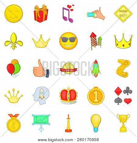 Winning Icons Set. Cartoon Set Of 25 Winning Icons For Web Isolated On White Background