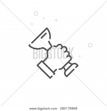 Hand With Trophy Vector Line Icon. Hand Holding Trophy Cup Symbol, Pictogram, Sign. Light Abstract G