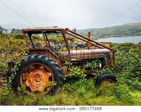 Old Rusty Tractor Overgrown With Weeds Near A Lake