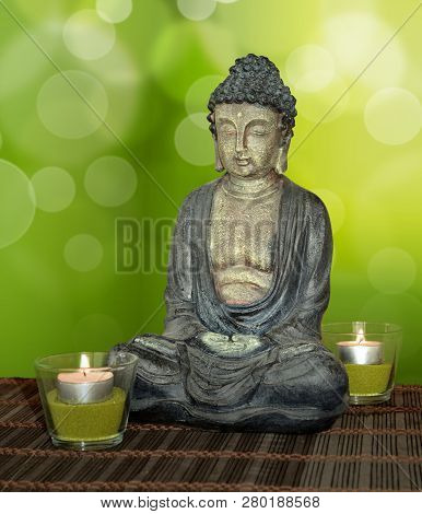 Buddah Statue Green Wind Illustration Forest Relaxation Wellness