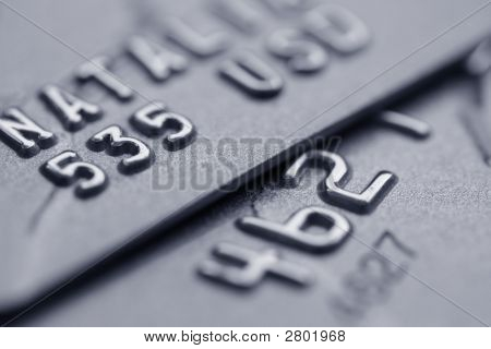 Macro Shot Of Credit Cards With Big Out Of Focus Zone