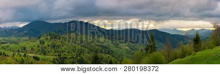 Beautiful Panorama Of Mountainous Countryside. Wonderful Springtime Landscape. Forested Rolling Hill