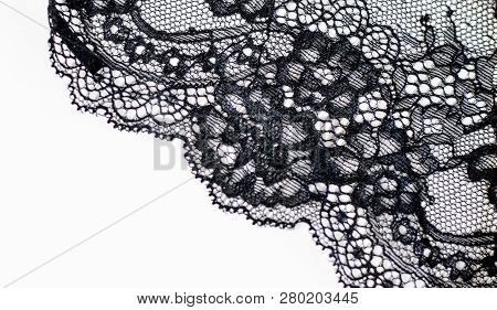 Black Lace Texture With Flowers On A White Background Background Of Black Lace With A Flower Pattern