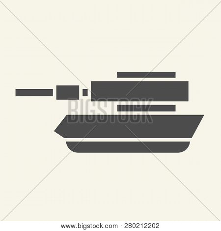 Tank Solid Icon. Panzer Vector Illustration Isolated On White. Machine Glyph Style Design, Designed