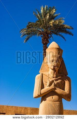 Sculpture Of Ramesses The Ii In Karnak Temple, Luxor, Egypt.