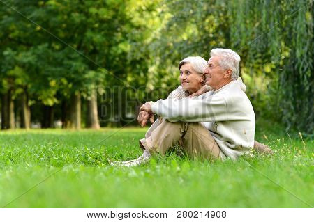 Elderly Couple Sitting On Green Grass In The Summer Park