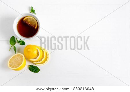 Background For Banner With Lemon Mint And Black Tea Seagull. Black Tea With Lemon. Background For Ba