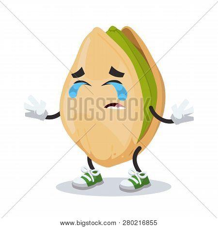 Crying Cartoon Cracked Pistachio Nut Mascot Isolated