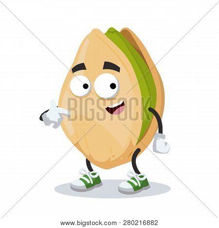 Cartoon Cracked Pistachio Nut Mascot Showing Himself Isolated