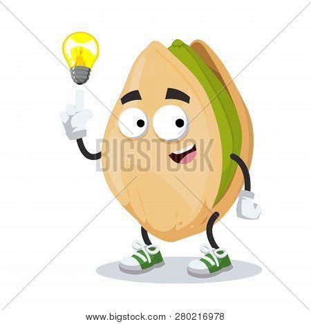 Cartoon Have An Idea Cracked Pistachio Nut Mascot Isolated