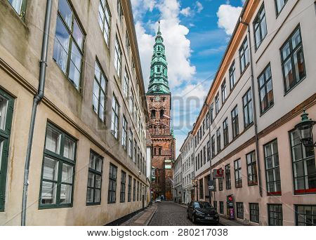 Copenhagen, Denmark - September 11 2018: The Clock Tower Of The St Nicholas Church Is Seen From A Ne