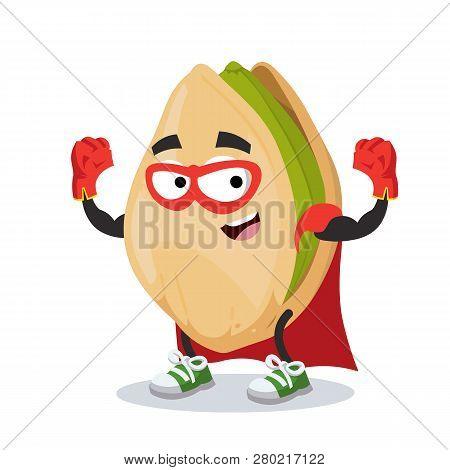Superhero Cartoon Cracked Pistachio Nut Character Mascot In Sneakers