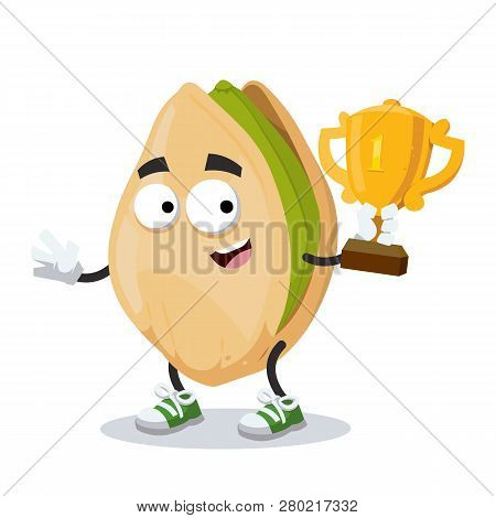 Cartoon Cracked Pistachio Nut Mascot Holds The Number One Cup