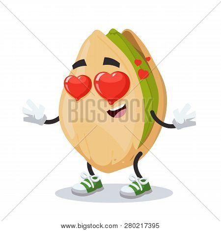 In Love Cartoon Cracked Pistachio Nut Character Mascot