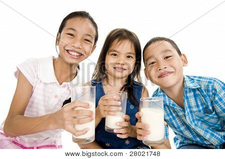 Asian Kids With Milk