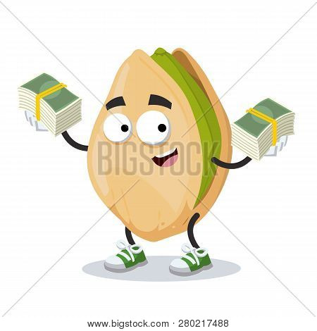 With A Pile Of Money Cartoon Cracked Pistachio Nut Character Mascot