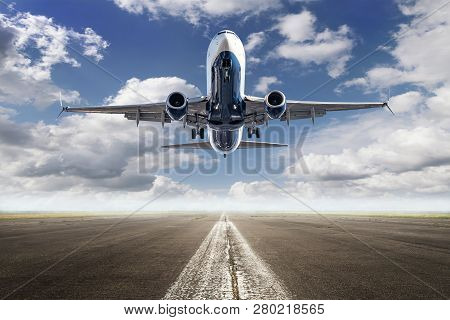 Take Off Of An Modern Airliner Against A Cloudy Sky