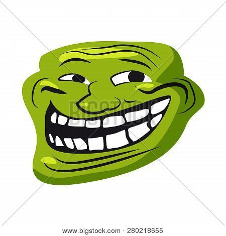 Internet Troll, meme, character face, internet folklore, social networking, forums, for stickers, banner, vector, illustration, banner, isolated poster