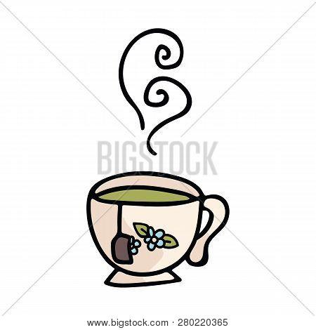 Cute Teacup Cartoon Vector Illustration Motif Set. Hand Drawn Hot Drink Elements Clipart For Kitchen