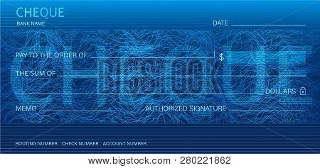 Check, Cheque (Chequebook template). Guilloche pattern with abstract line watermark. Background hi detailed for banknote, money design, currency, bank note, Voucher, Gift certificate, Money coupon poster
