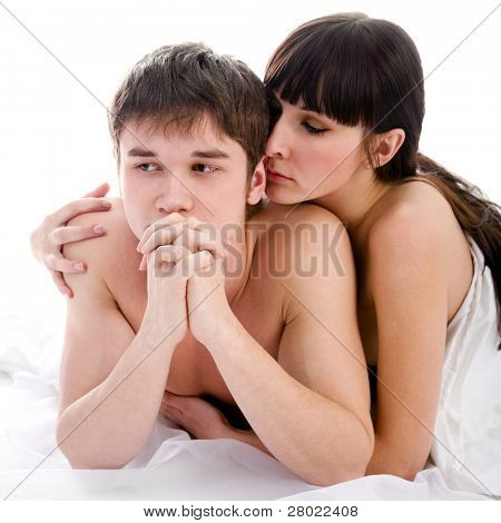 unhappy couple in bed - sexual related problems