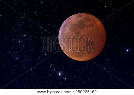 Photographic Composite Of Total Lunar Eclipse. Super Blood Woof Moon.